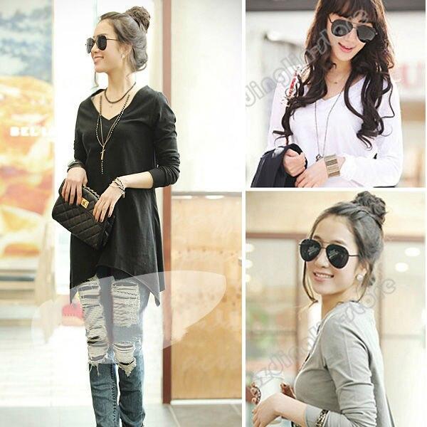 New Fashion Women's Clothing V-Neck Long Sleeve Casual Loose Shirt Tops T-Shirt Black Gray White Size S Free Shipping 0659