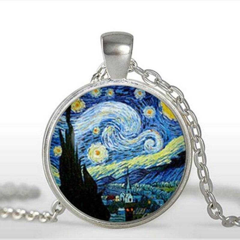 Die Sternen Nacht Anhänger Van Gogh Die Sternen Nacht Halskette Glas kunst foto Anhänger Halskette kunst geschenk für sie oder ihn HZ1