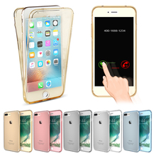ФОТО (5.5 inch) crystal touch full body transparent case for iphone 7 plus cover soft silicone phone bag cases i7+ for iphone7 plus