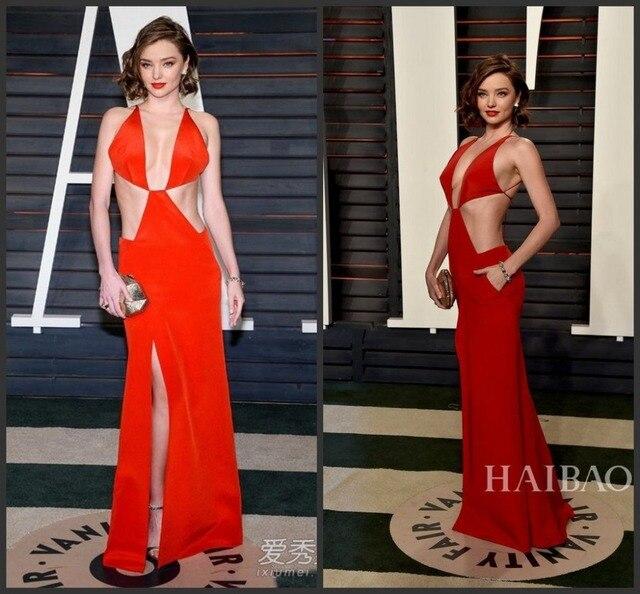 Sexy 2017 88th Academy Awards Oscars Miranda Kerr Red Carpet Celebrity Dresses Deep V Neck Hot Red Backless Formal Evening Dress