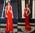 Sexy 2017 88th Premios de la Academia Oscar Miranda Kerr Red Carpet Vestidos de la celebridad V Profundo Cuello Caliente Rojo Backless de Noche Formal vestido