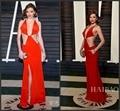 Sexy 2017 Academy Awards Oscar 88th Miranda Kerr Red Carpet celebridade Vestidos V Profundo Neck Red Hot Backless Evening Formal vestido