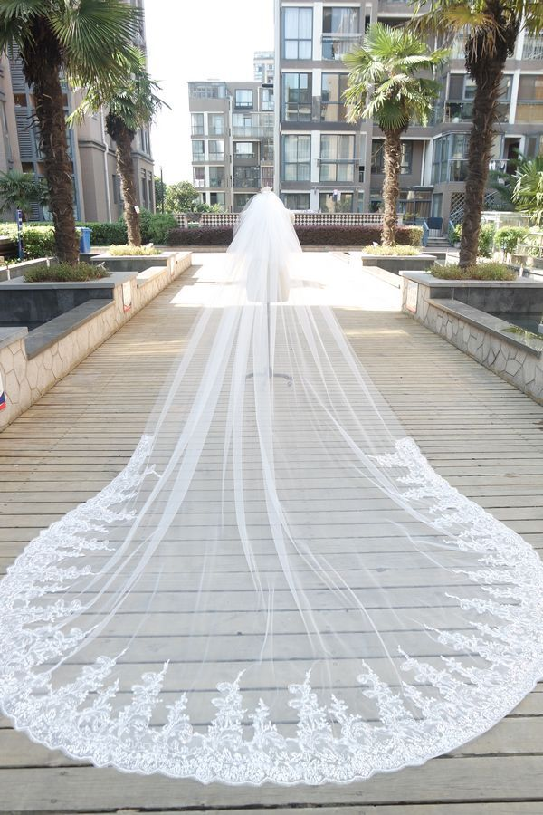 Shamai White Ivory Sequins Lace 3 4 Metres Wedding Veils Cathedral Length Long Bridal Veil In From Weddings Events On