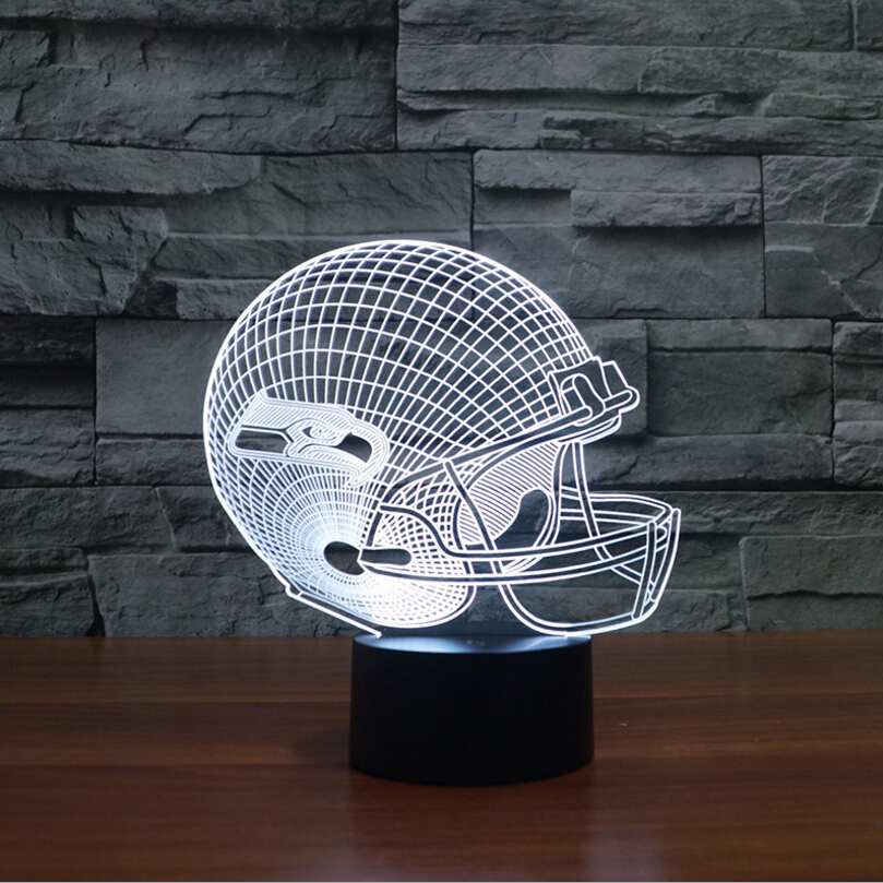 3D NFL Seattle Seahawks Fußball Acryl 3D tischlampe Touch 7 farben ...