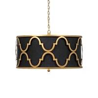 Круглый одна голова подвесной потолочный светильник для кухни черный/белый ткань абажур американский подвесной светильник для гостиной/сп...