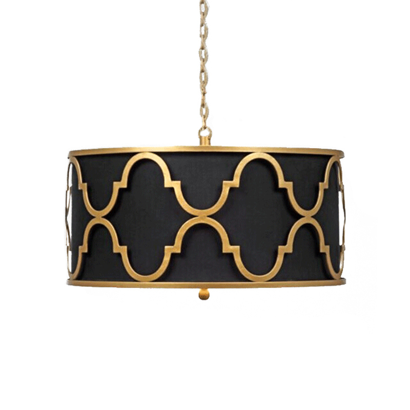 Round Single Head Hanging Ceiling Lamp For Kitchen Black White Fabric Lampshade American Pendant Light For