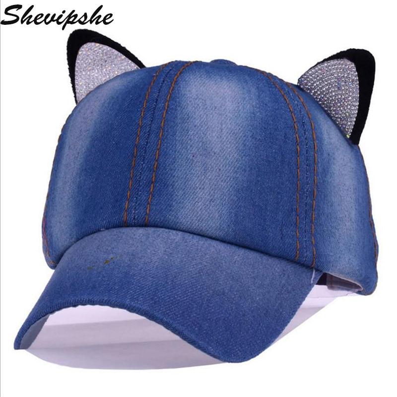 1d2efcd405c Shevipshe Baseball Cap Girls Snapback Caps Children Hats Rhinestone Cat  Ears Cap Visor Bone Jeans Denim Blank Gorras Casquette