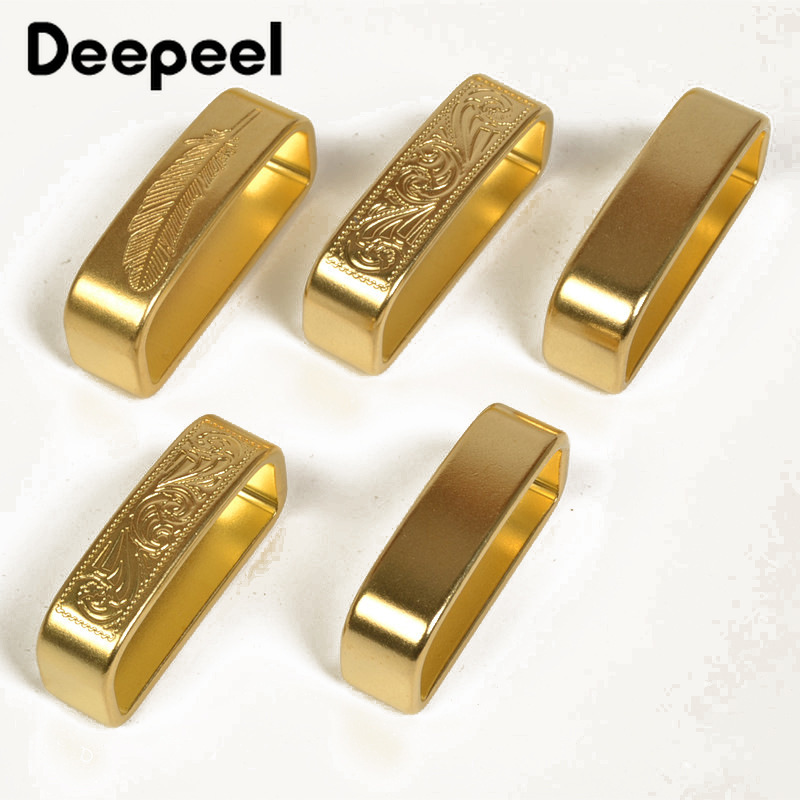 Deepeel 35-40mm Pure Copper Belt Loop Solid Brass Men Leather O D Ring Belt Buckle DIY Leather Craft Hardware Metal Accessories