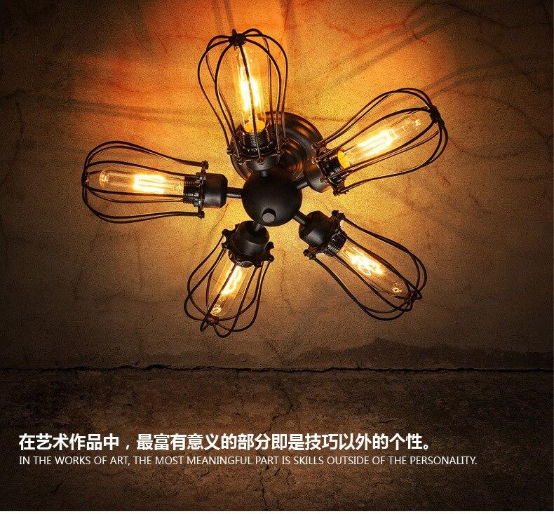 купить American country retro loft industrial wind 5 grapefruit ceiling light lamp attic cafe ceiling lamp по цене 6393.12 рублей