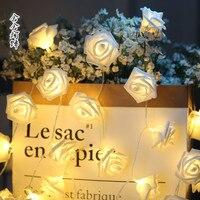 Rose flowers LED battery light valentine's roses chandeliers photo clip rose flower lamp string lights LED simulation