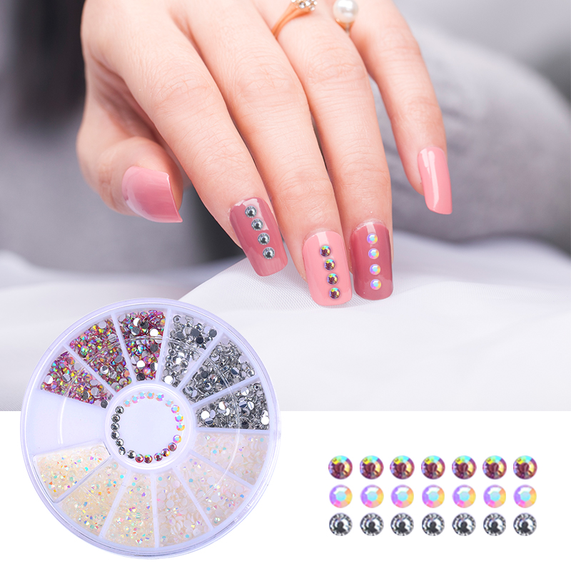 1 Box Mixed Color 3D Nail Art Decoration In Wheel