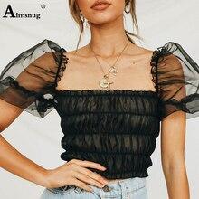 цена Sexy Mesh Solid Black Lady T Shirt 2019 Summer New Lantern Sleeve Slash Neck Female short Tops Slim Women Perspective T-shirt