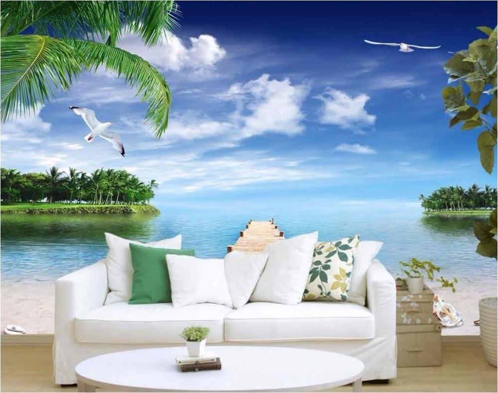 Custom 3 D Photo Wallpaper Wall Murals 3d Wallpaper Beach: Custom Photo 3d Wallpaper Ocean Pier Beach Seashells