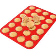 1PCS 24 Cup Silicone Cake Pan Non-stick Round Cake Mold Silicone Muffin Cups Cupcake Baking Dish Mold Baking Tray Kitchen Tools