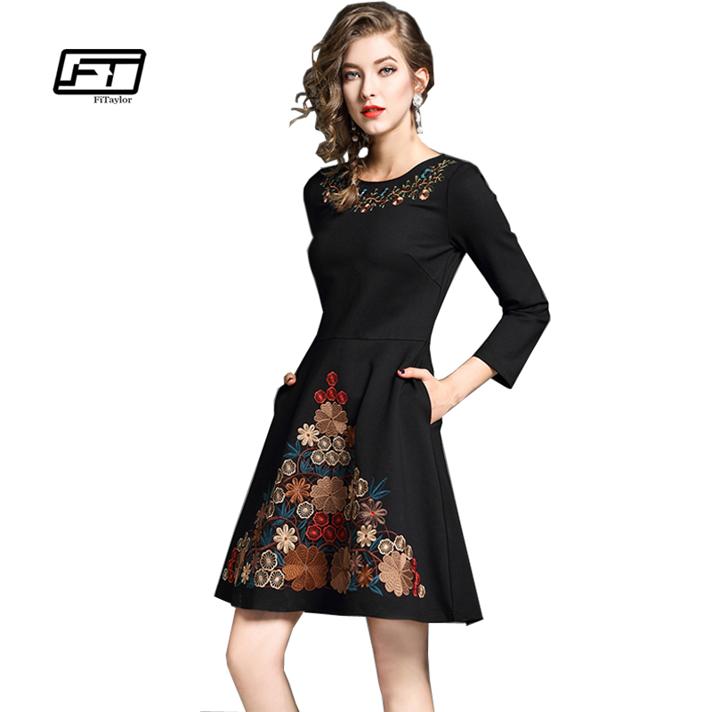 Fitaylor Women Vintage Floral Embroidery A line Dresses Female Elegant Black Slim Party Princess Dress-in Dresses from Women's Clothing on AliExpress - 11.11_Double 11_Singles' Day 1