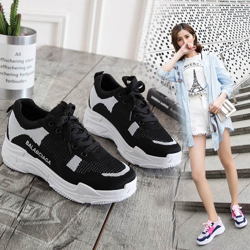2018 New Arrival Spring Summer Breathable Light Mesh Boots For Women Flying Woven Sports Running Sneaker Womens Shoes For Sale