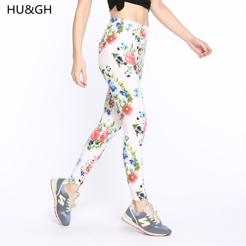 ARDLTME High Quality Print Flower Casual   Legging   Flowers Leggins Mid Elasticity Material Women Trouser Seamless   Legging