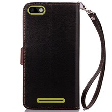 Leaf Clasp Wallet Flip Leather Case with Card Slots & Stand for BQ BQS-5020 Strike / 5 inch Pouch Soft Cover