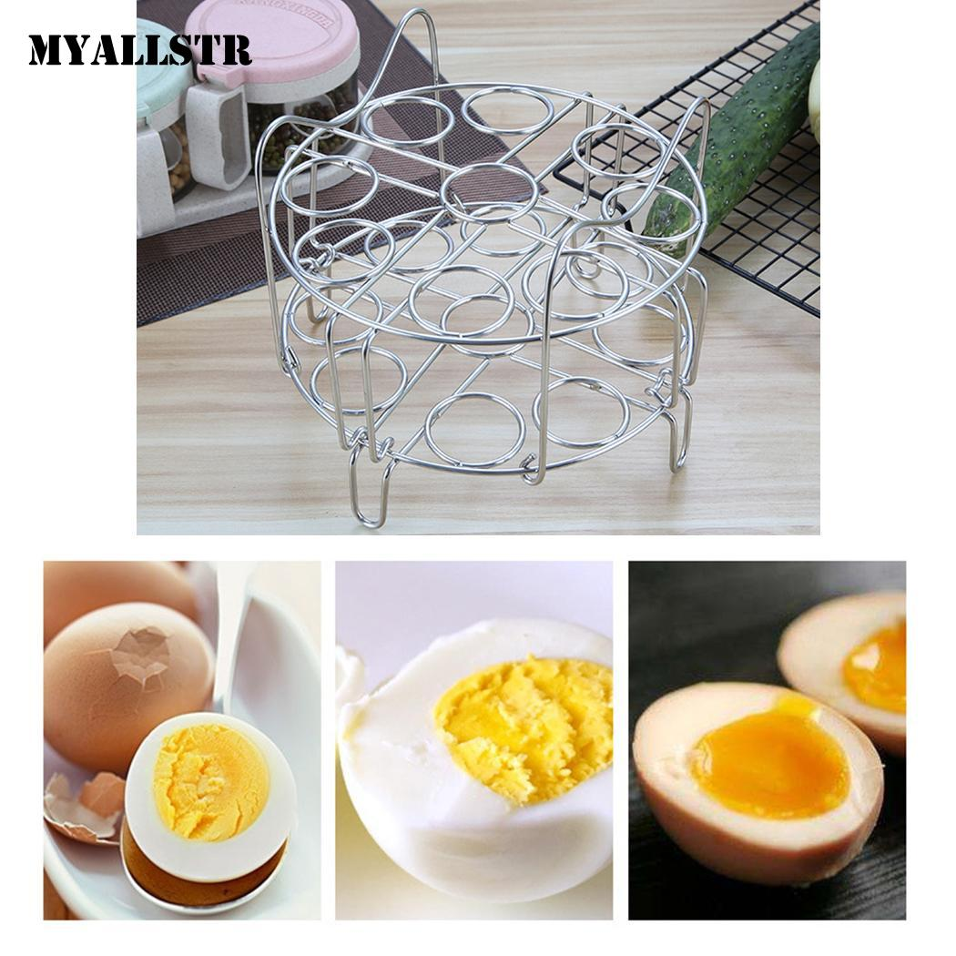 Durable Folding Double Layered Steamed Egg Rack 4cm/1.6inch Kitchen 18 With Handle, Folding, Shelf Steamer