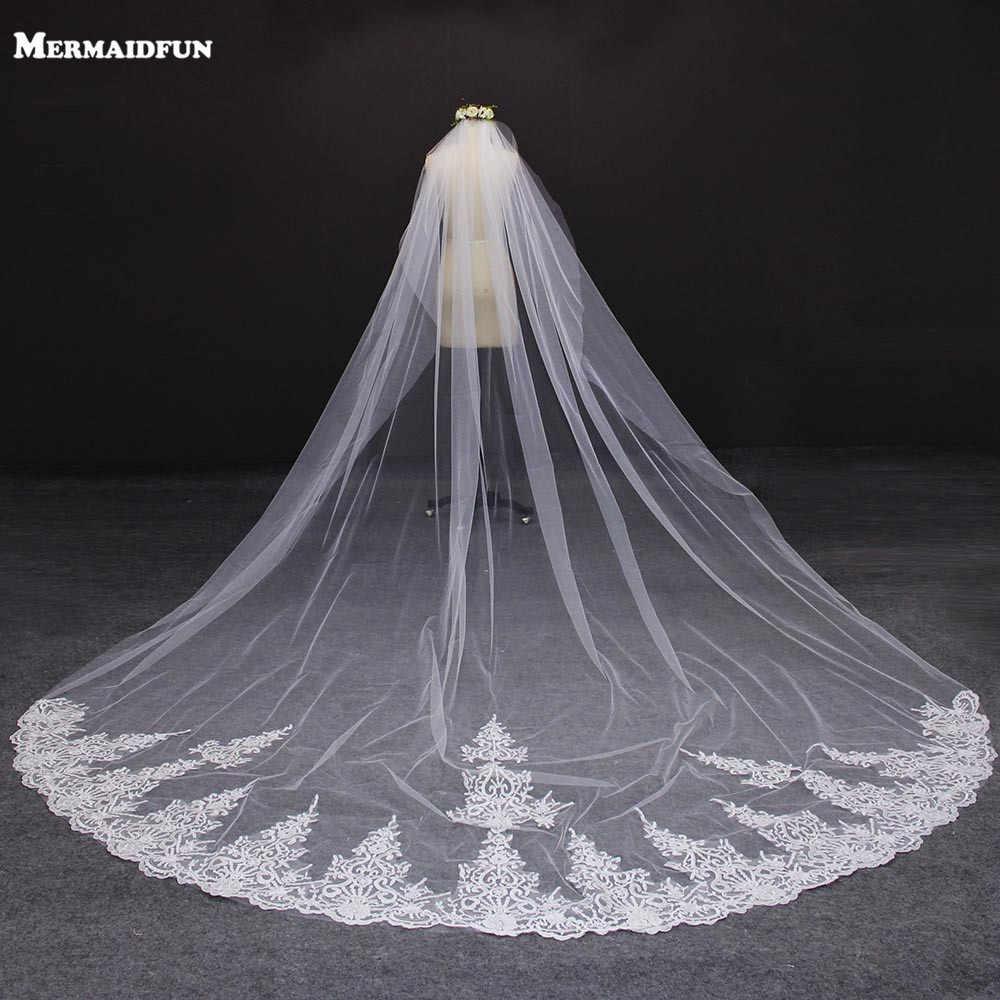 4 Meter Weiß/Elfenbein Eine Schicht Schöne Kathedrale Länge Spitze Rand Hochzeit Schleier Mit Kamm Lange Braut Schleier Voile mariage