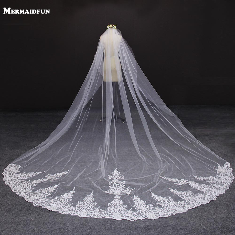 4 Meter White/Ivory One Layer Beautiful Cathedral Length Lace Edge Wedding Veil With Comb Long Bridal Veil Voile Mariage 2019