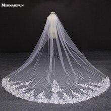 4 metro branco/marfim uma camada bonita catedral comprimento borda do laço véu de casamento com pente longo véu nupcial voile mariage