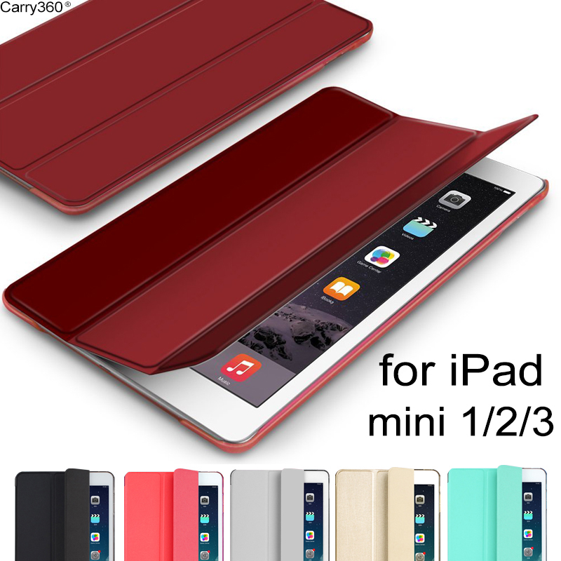 Case for iPad Mini, Carry360 Detachable PU Leather Smart Cover Wake Up Sleep Stand Magnetic for Apple iPad Mini 1 2 3 minions selfie print leather magnetic case funda smart cover for apple ipad mini case for ipad mini 1 2 3 4 retina case wake up