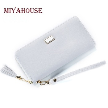 Miyahouse Female Long Clutch Wallets Tassel Zipper Wristlets For Women Card Holders Cell Phone Wallet Fashion Leather Bags