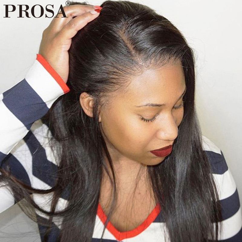 Pré Pincées Plein cheveux humains avec dentelle Perruques Pour Femmes Noir 250 Densité Sans Colle Pleine perruque en dentelle Avec Bébé Cheveux perruque raide Prosa Remy
