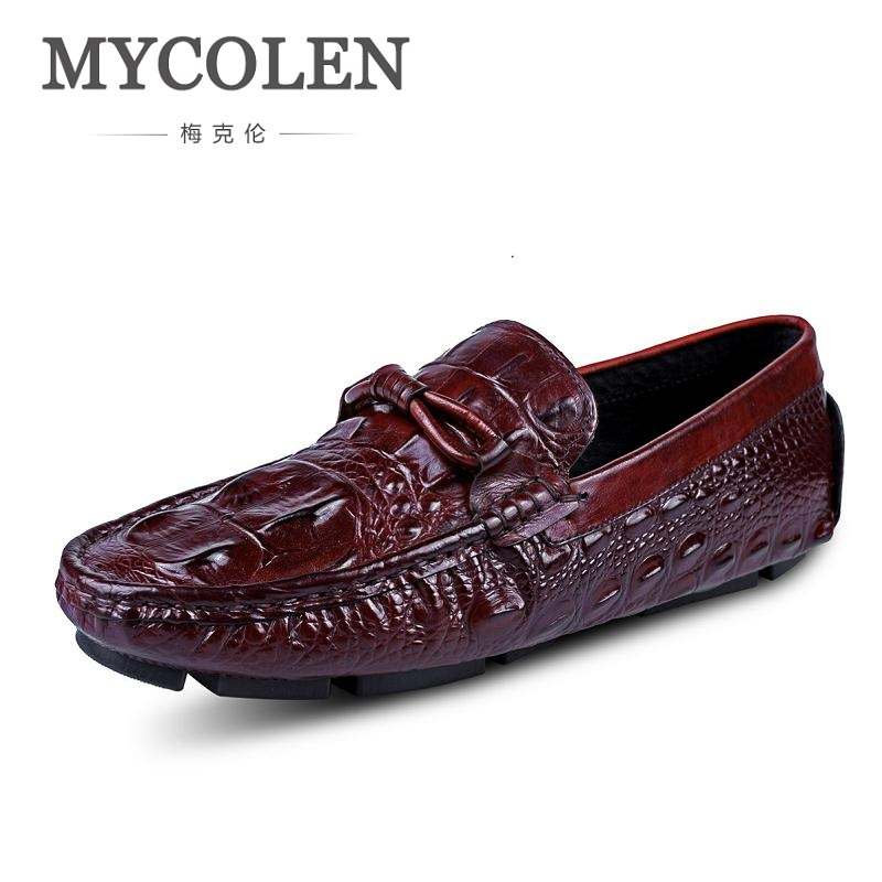 MYCOLEN Summer Genuine Leather Loafers Men Casual Shoes Crocodile Pattern Moccasins Male Luxury Slip-On Flat Shoes Scarpe mycolen men loafers leather genuine luxury designer slip on mens shoes black italian brand dress loafers moccasins mens