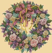 Darmowa dostawa najwyższej jakości popularny zestaw do haftu wieniec z róże boże narodzenie wieniec garland dim 3837