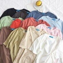Summer Korean Women Candy T Shirt Short Sleeve Casual Basic Tee and Top Loose Week Bff T-shirt