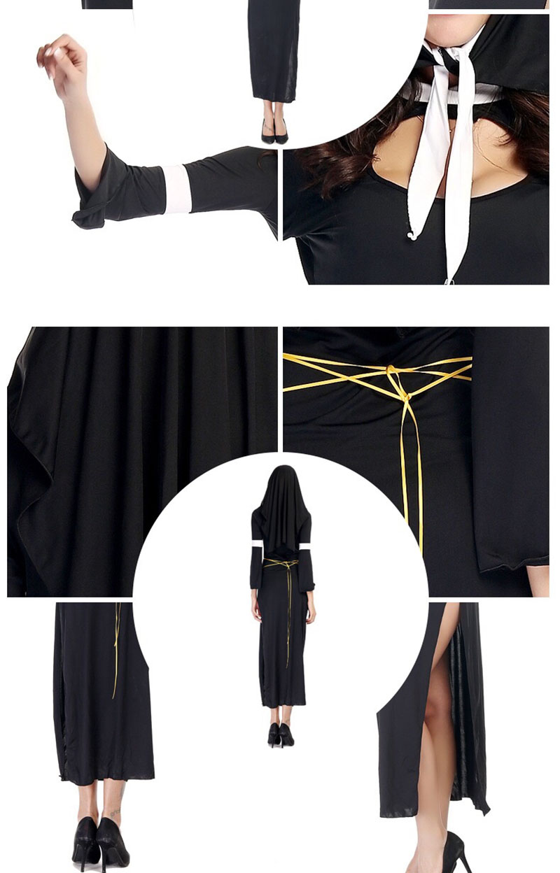 3def2747e035b Adult Women Sexy Halloween Nun Sister Costume Religion Christian Black  Erotic Side Split Dress Jesus Christ Outfit For Ladies