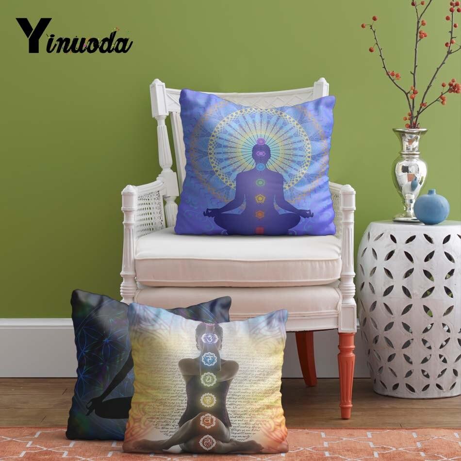Yinuoda 45*45 см чакра Йога Чехлы для подушек Пледы Наволочки для диван домашний отель декоративные невидимые молнии с двух сторон печать