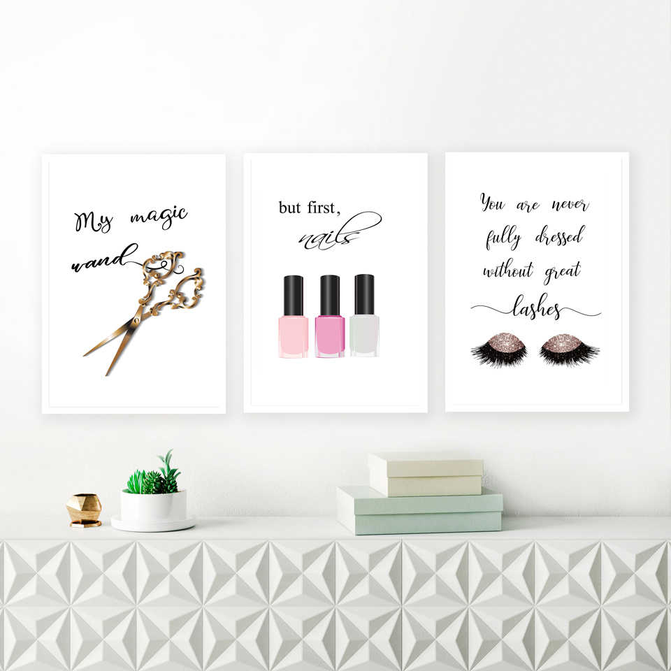 Makeup Quote Canvas Art Prints Nail Polish Lashes Poster Canvas Painting  Wall Picture For Girl Lady Dressing Room Art Decoration