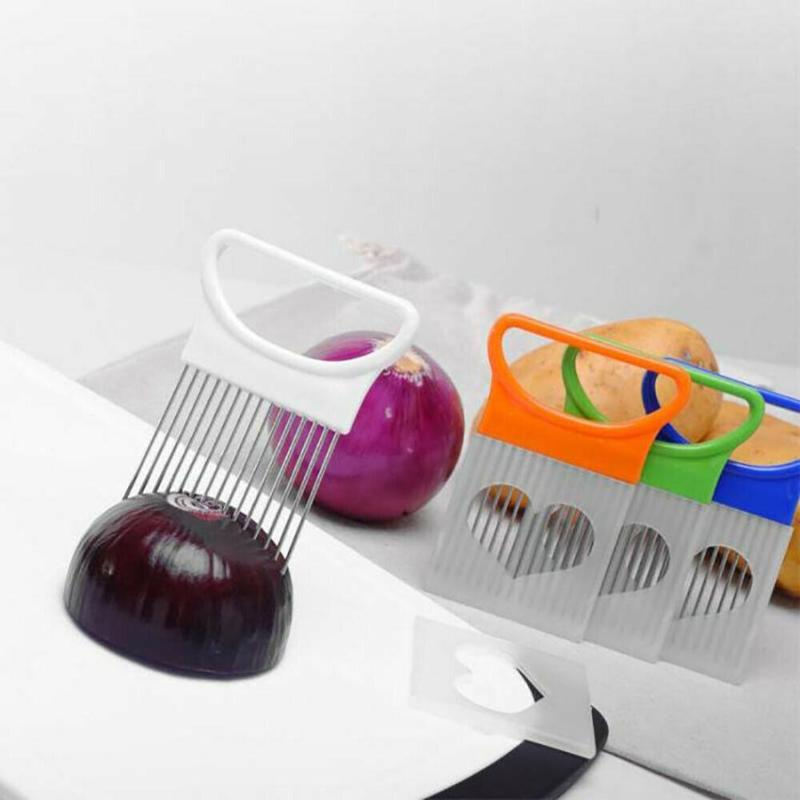 Stainless Steel Onion Cutter Multifunction Vegetables Tomato Slicer Holder Meat Needle For Kitchen Gadgets Accessaries