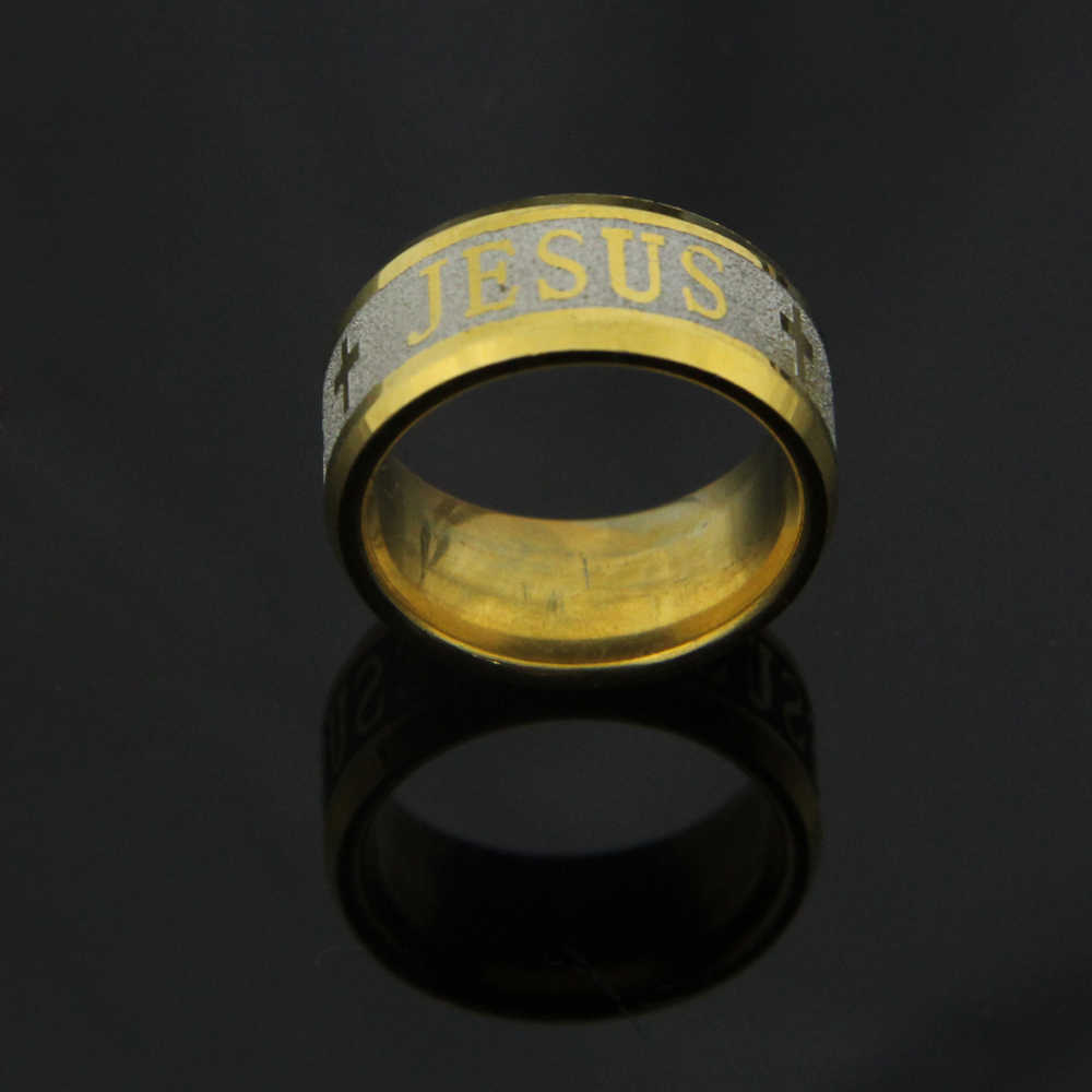 คุณภาพสูงขนาดใหญ่ขนาด 8 มม. 316 เหล็กไทเทเนียม dropshipping พระเยซูครอสอักษรพระคัมภีร์แหวนแต่งงานแหวนผู้ชายผู้หญิง