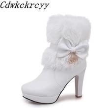 c307c93e79 Mulheres Botas de Outono e inverno Novo estilo Doce princesa Alta-Cashmere  Keep warm Mulheres