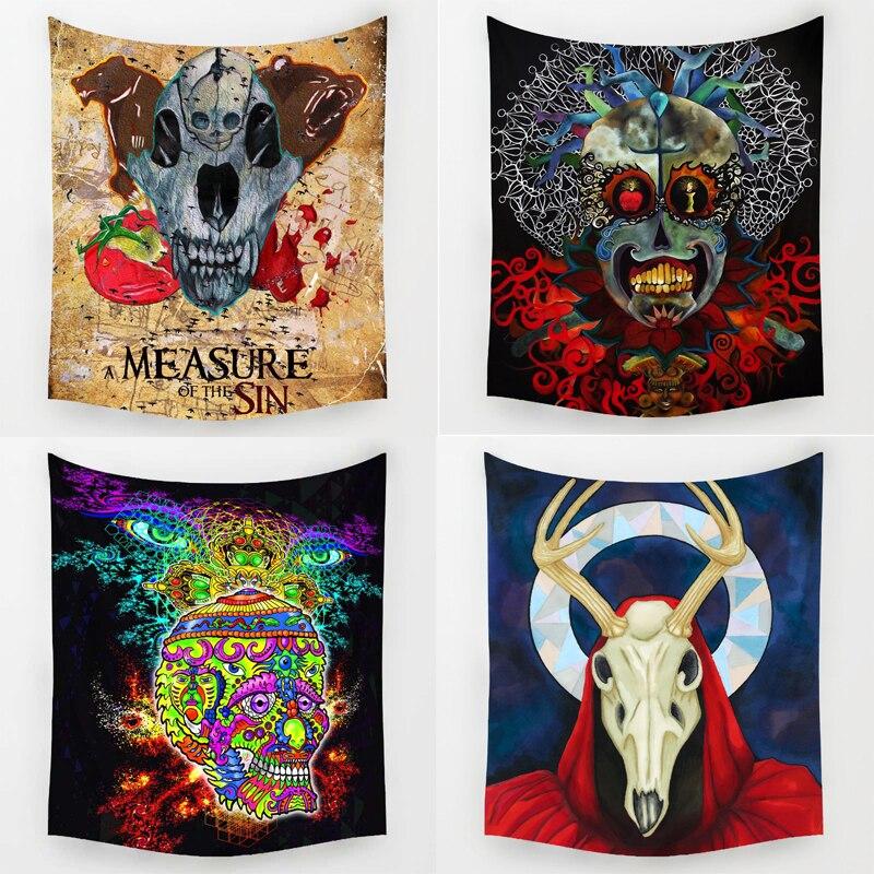 Comwarm Indische Hippie Mix Bunte Schädel Design Muster Tapisserie Villainous Hobby Wand Hängen Wandbild für Schulzimmer Dekorative