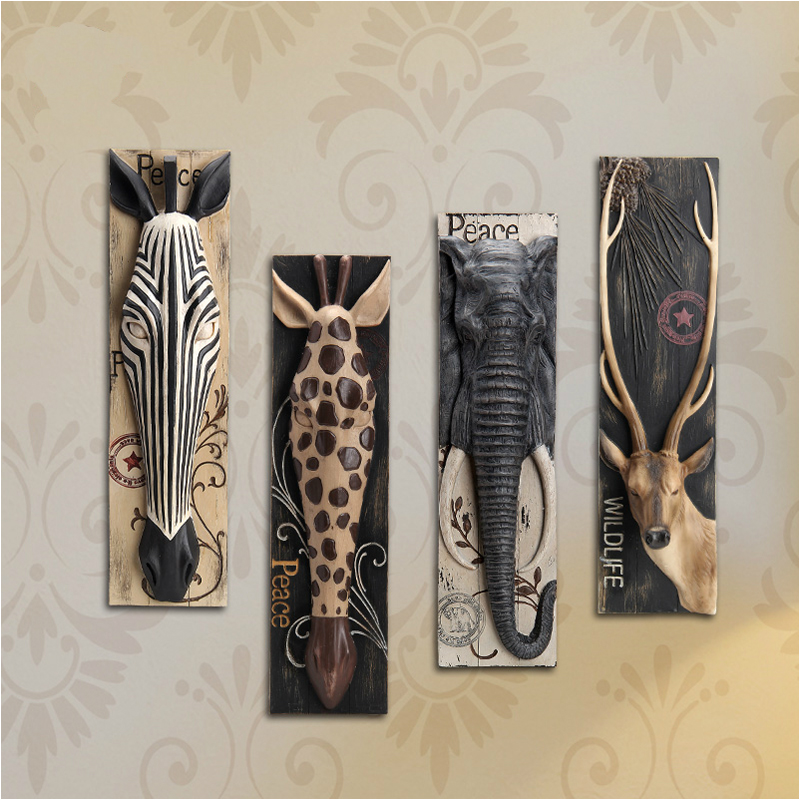 European style animal head hanging pendant bar wall mural Room Decor stereo creative background Elk Elephant Giraffe zebra Nice