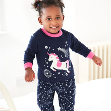 Jumping Baby Unicorn clothes sets girls cotton suits autumn spring children clothing sets top + bottoms kids girls clothing suit cheap jumping meters Princess Full cartoon O-Neck REGULAR Fits true to size take your normal size Pullover T7031 Jackets Viscose
