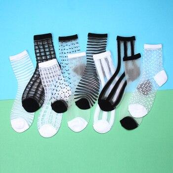 Las mujeres de seda transparente de encaje Calcetines blanco negro calcetines | Calcetines de verano 2020 de moda elasticidad tobillo mujeres delgadas calcetines Sheer medias