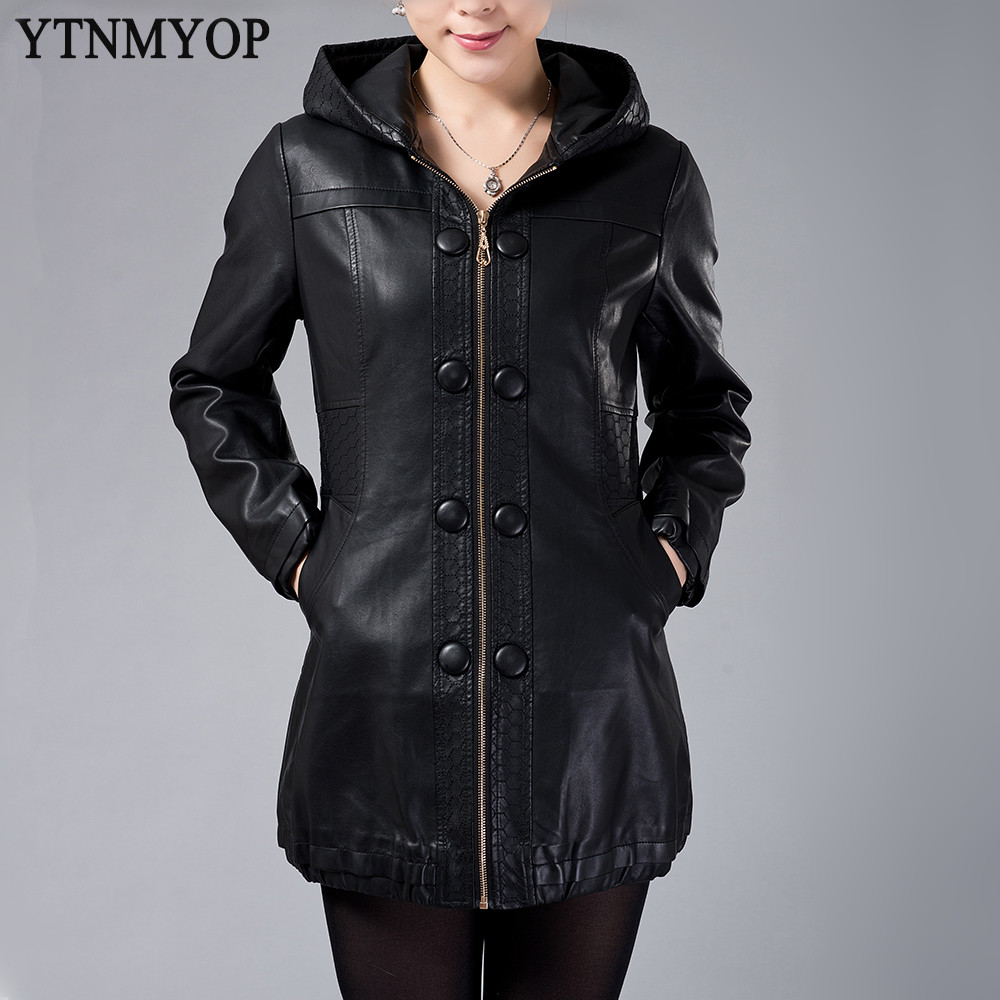 Women Long   Leather   Jacket 2019 Autumn And Autumn Black   Leather   Coat Plus Size Loose L-5XL Mother Clothing Fashion