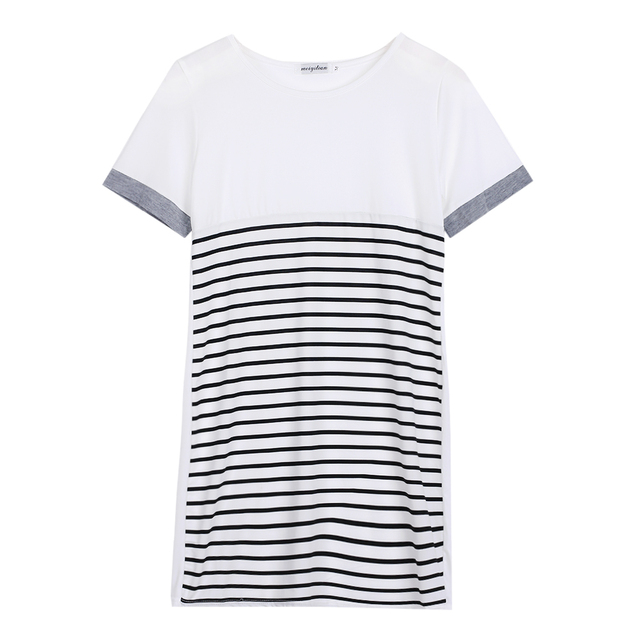 2016 Fashion Casual Womens Ladies Cotton T Shirt Tops Striped Mini Dress Long  Tee Shirts