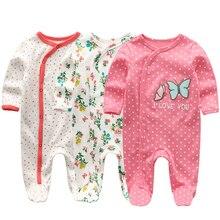 Kiddiezoom/Фирменный летний детский комбинезон с длинными рукавами; Одежда для новорожденных девочек и мальчиков с принтом героев мультфильмов; Хлопковая пижама; roupa infantil