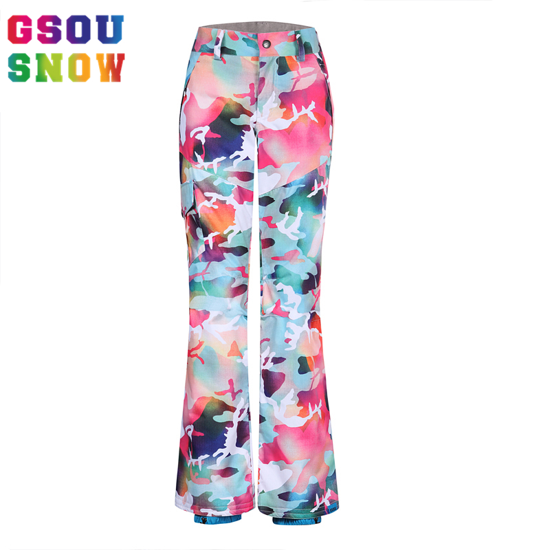 GSOU SNOW Waterproof Ski Pants Women Colorful Snowboard Pants Ladies Camouflage Skiing Clothing Winter Windproof Skis Trousers freestyle skiing ladies aerial qualification pyeongchang 2018 winter olympics