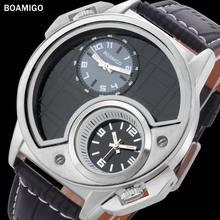 Мужские кварцевые часы с кожаным ремешком в деловом стиле