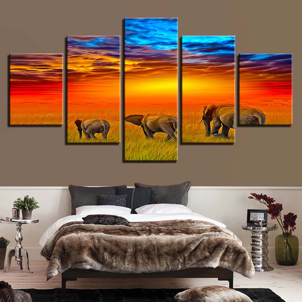 Animal Print Elephant Dog Bear Lion Canvas Paintings Poster Wall Print Canvas 5 Panel Home Decorations Living Room Abstract 306