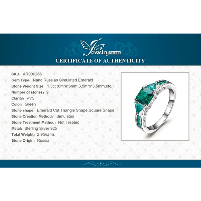 JewelryPalace Caved 1.3ct Nano Russian Simulated Emerald Statement Ring 925 Sterling Silvern Friendship Love Jewelry Gifts