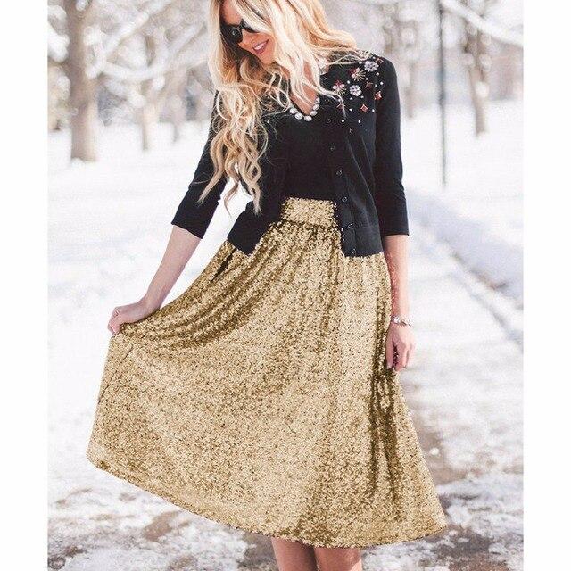 4738602a6 Mujeres de la manera una línea de cintura alta midi falda de lentejuelas  falda de midi negro falda larga de cintura alta shinning vintage falda de  ...